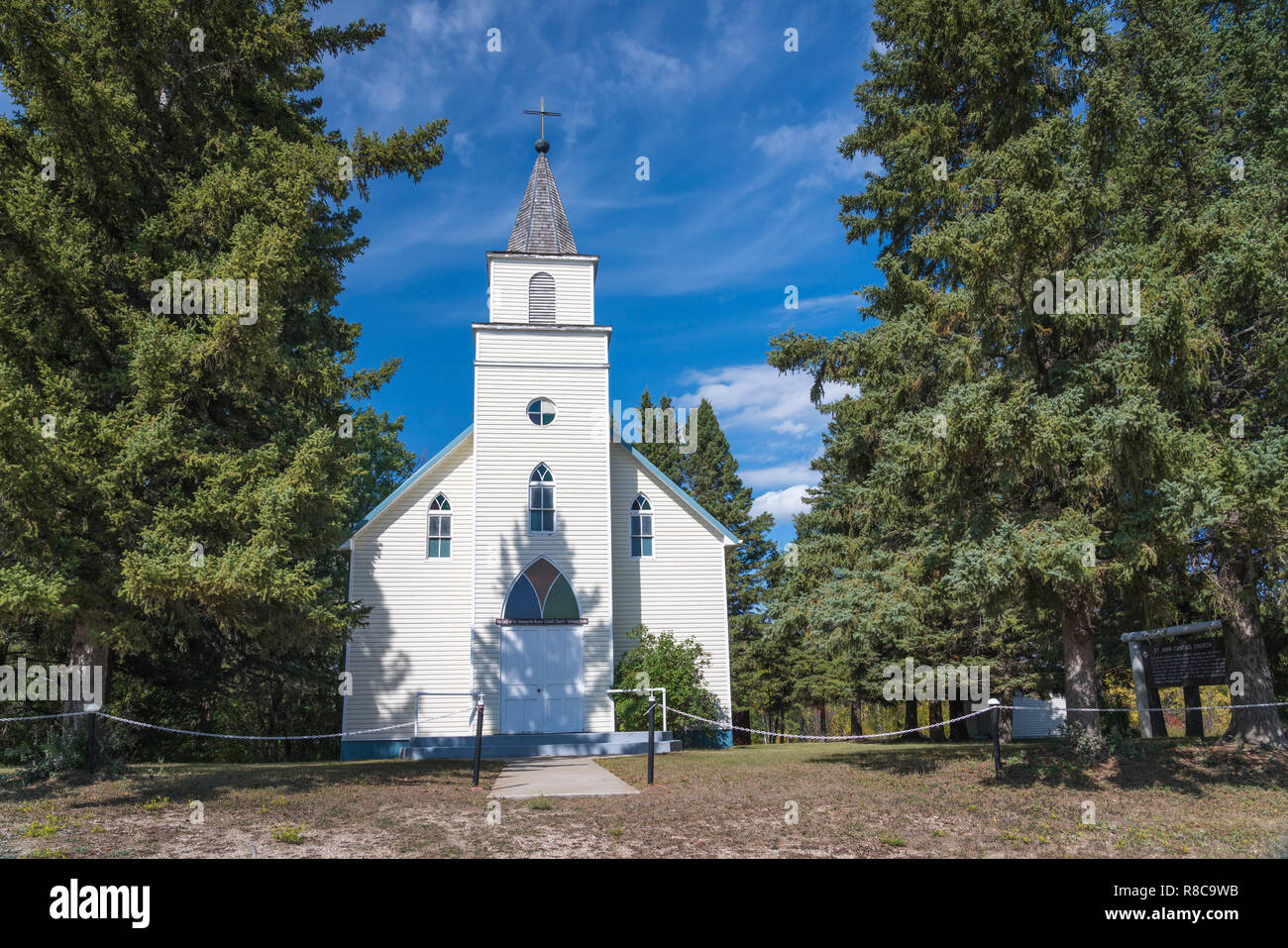The exterior of the Our Lady of the Asumption Roman Catholic Church near Olha, Manitoba, Canada. - Stock Image