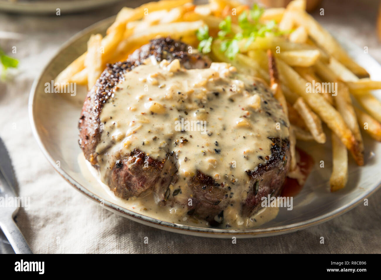 Homemade Steak Au Poivre with Pepper Sauce - Stock Image