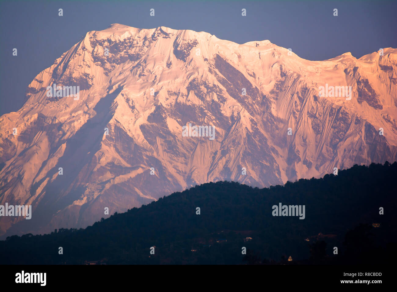 Mountain peak Annapurna View from Pokhara city , Nepal - Stock Image