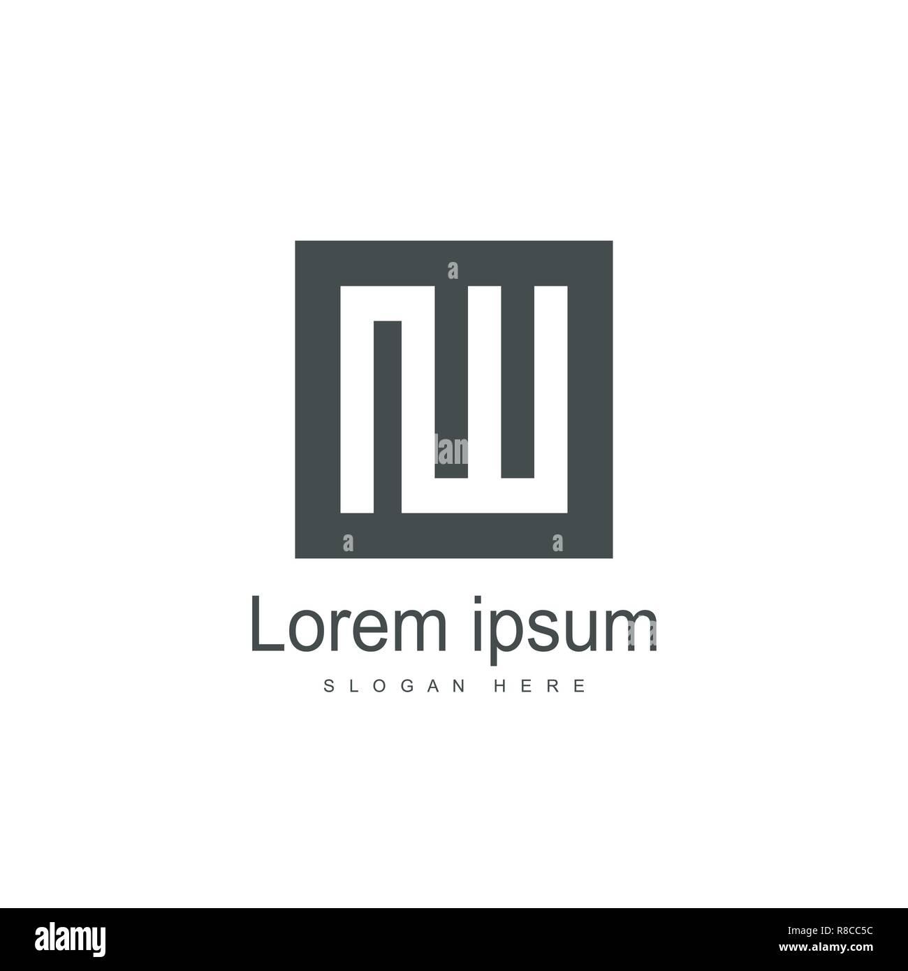 Initial Letter IW Logo Template Design. Minimalist letter logo template - Stock Vector