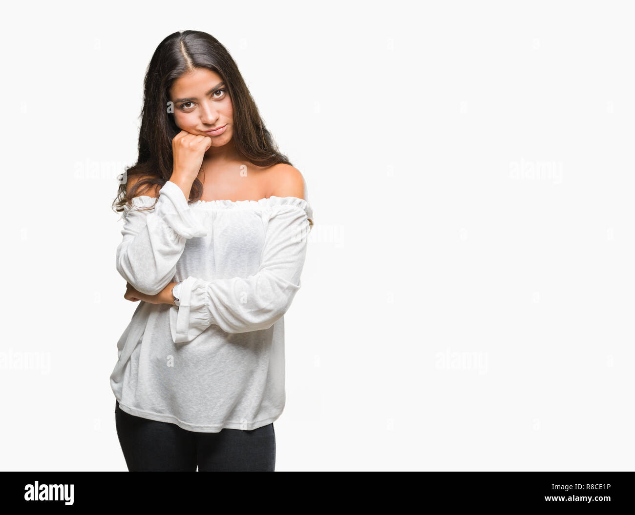 Young beautiful arab woman over isolated background thinking looking tired and bored with depression problems with crossed arms. Stock Photo