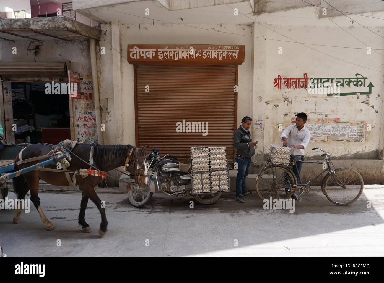 Egg merchant supply chain, delivery by motorcycle and bicycle in New Delhi, India. Stock Photo
