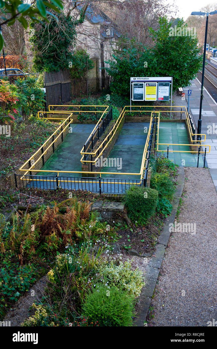 Disabled access ramp to Bradford on Avon railway station, Stock Photo