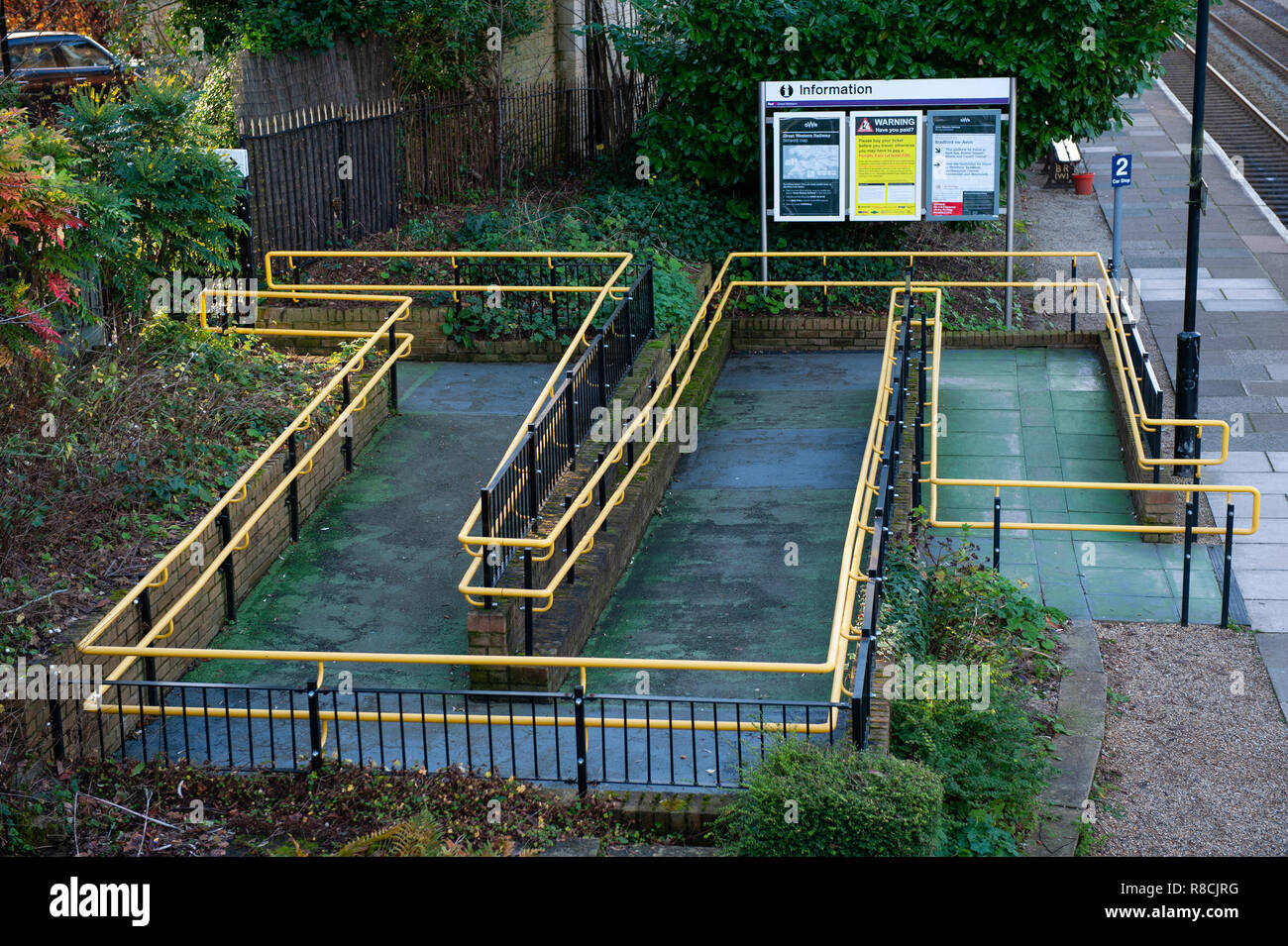 Disabled access ramp to Bradford on Avon railway station, Stock Photo