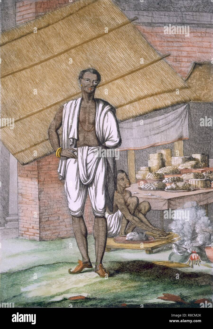 Houalouays', a confectioner or pastry cook, from 'Les Hindous ou la Description de leurs Moeurs Coutumes et Ceremonies', pub. 1808-12 (coloured etching). A Collection of Two Hundred and Fifty Coloured Etchings: Descriptive of the Manners, Customs and Dresses of the Hindoos; Volume I is devoted to religious castes and cermonies; Volume II to occupations and musical instruments; Volume III to sailing craft; and Volume IV to indigenous flora and fauna. - Stock Image