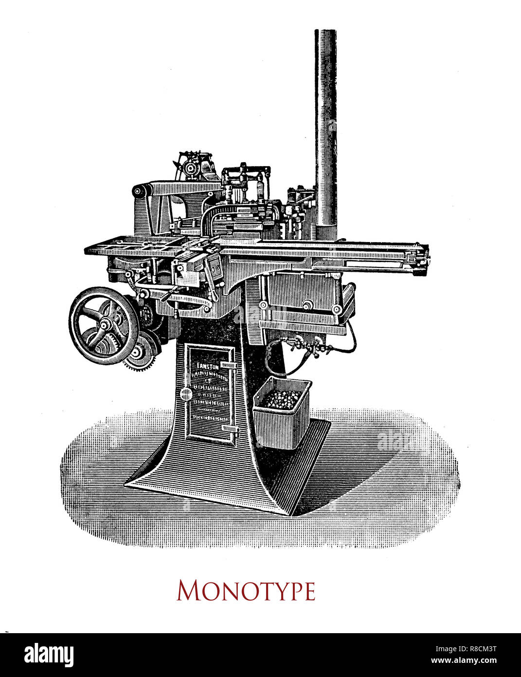 Sheet Fed Printing Press Diagram On Of Offset Old Hand Stock Photos Vintage Engraving Monotype Machine Caster It Casts Individual Letters Which Are Assembled