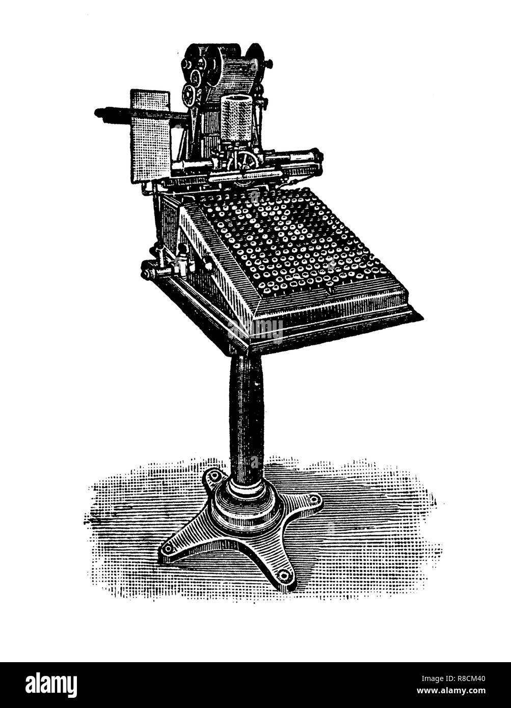 Vintage engraving of monotype keyboard printing machine communicated with the caster machine by perforated tape from the text entered on the keyboard. - Stock Image