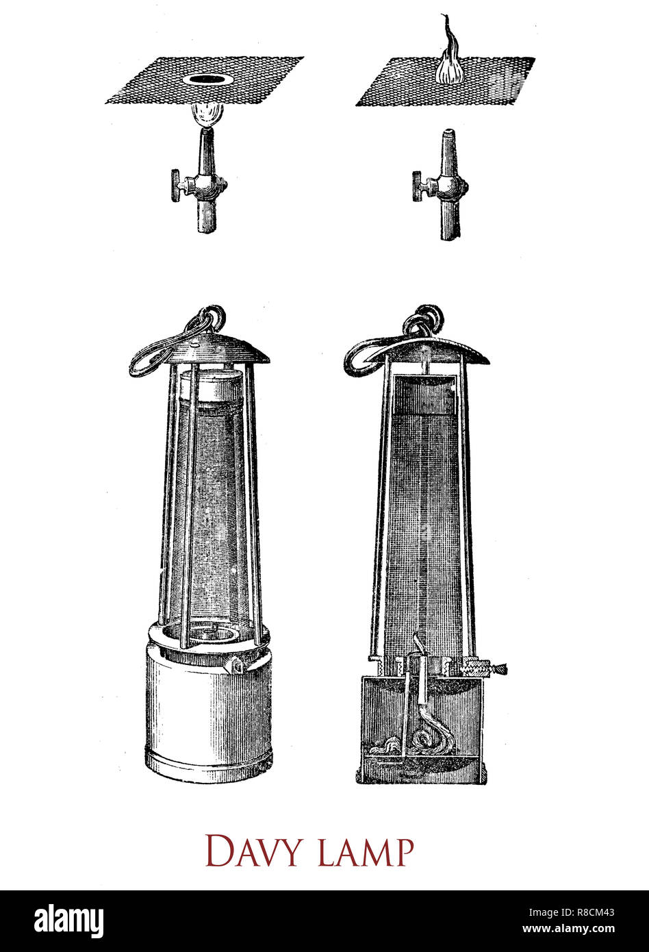 Vintage engraving of the Davy lamp, safety lamp for use in flammable atmospheres like coal mines, invented in 1815 by Sir Humphrey Davy. It consists of a wick lamp with the flame enclosed inside a mesh screen - Stock Image