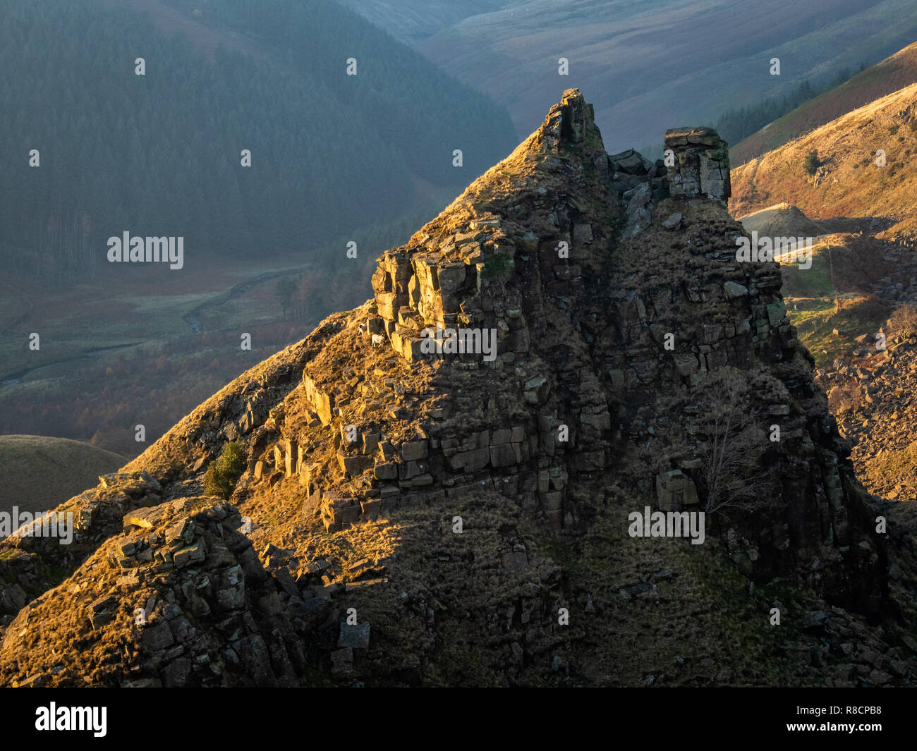 The Tower at Alport Castles above Alport Dale in the Derbyshire High Peak UK where millstone grit strata have slipped over shale beds - Stock Image