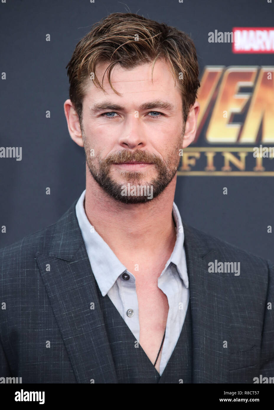 HOLLYWOOD, LOS ANGELES, CA, USA - APRIL 23: Chris Hemsworth at the World Premiere Of Disney And Marvel's 'Avengers: Infinity War' held at the El Capitan Theatre, Dolby Theatre and TCL Chinese Theatre IMAX on April 23, 2018 in Hollywood, Los Angeles, California, United States. (Photo by Xavier Collin/Image Press Agency) Stock Photo