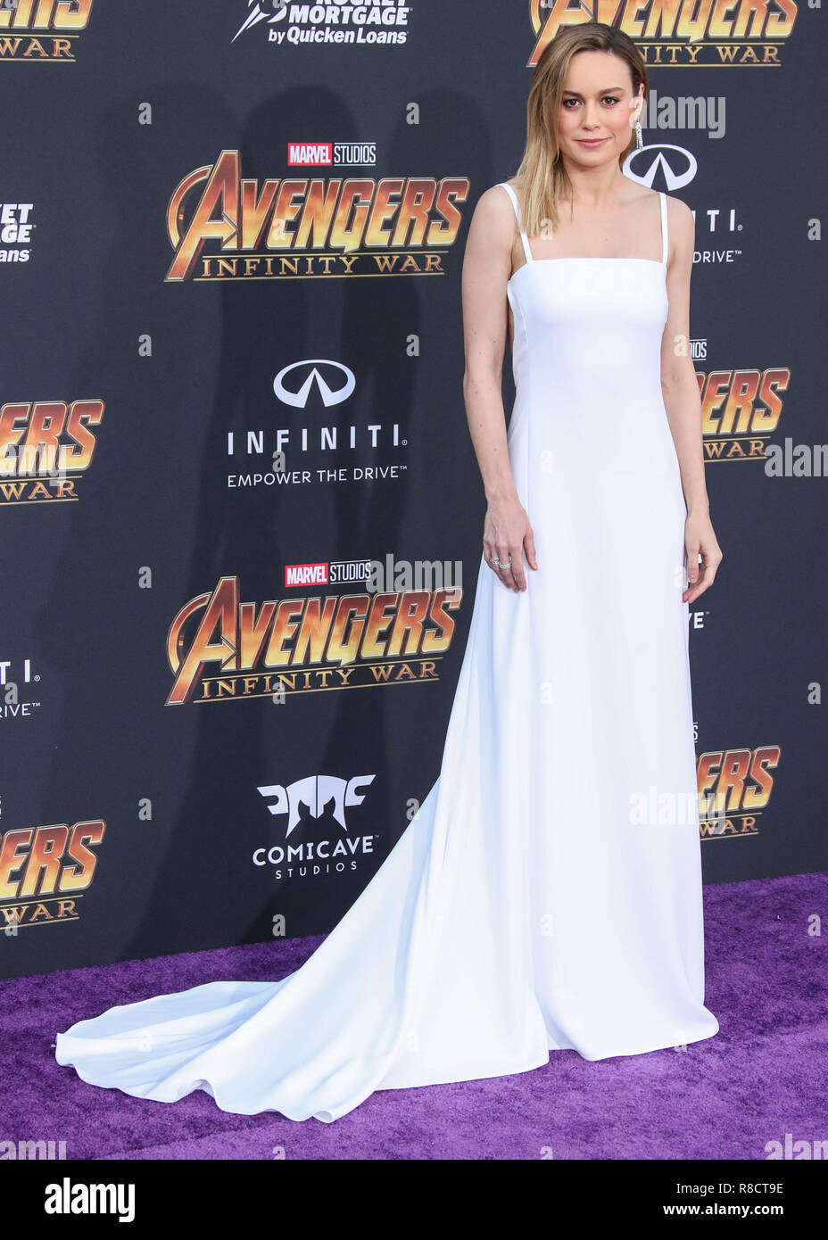 HOLLYWOOD, LOS ANGELES, CA, USA - APRIL 23: Brie Larson at the World Premiere Of Disney And Marvel's 'Avengers: Infinity War' held at the El Capitan Theatre, Dolby Theatre and TCL Chinese Theatre IMAX on April 23, 2018 in Hollywood, Los Angeles, California, United States. (Photo by Xavier Collin/Image Press Agency) Stock Photo