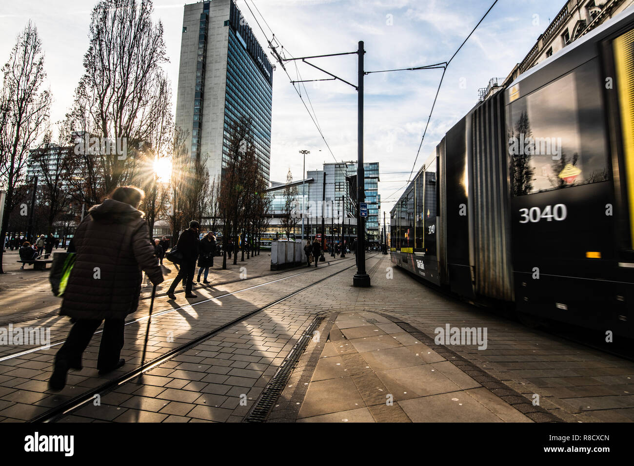 Piccadilly Gardens transport hub in Central Manchester UK - Stock Image
