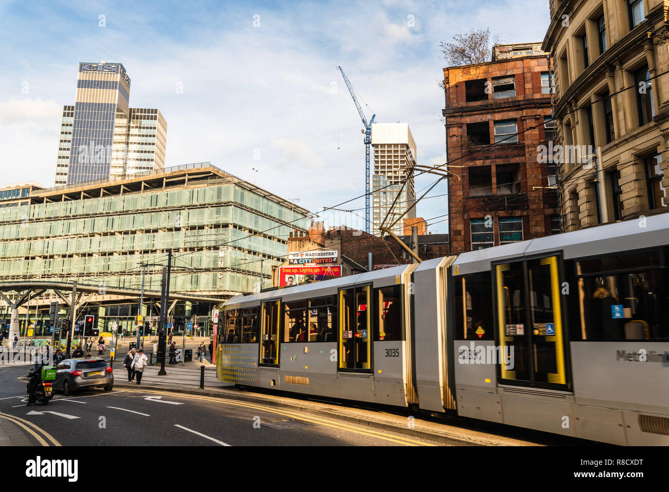 Shudehill Interchange, Co-Operative and Metrolink in Central Manchester UK - Stock Image