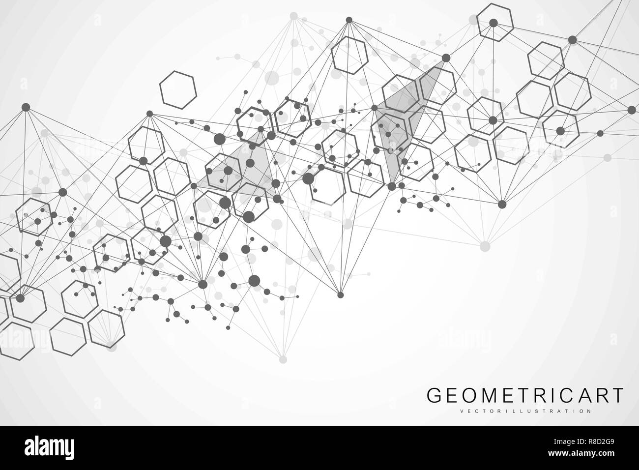 Hexagonal Abstract Background Big Data Visualization Global Network Connection Diagram Medical Technology Science Vector Illustration