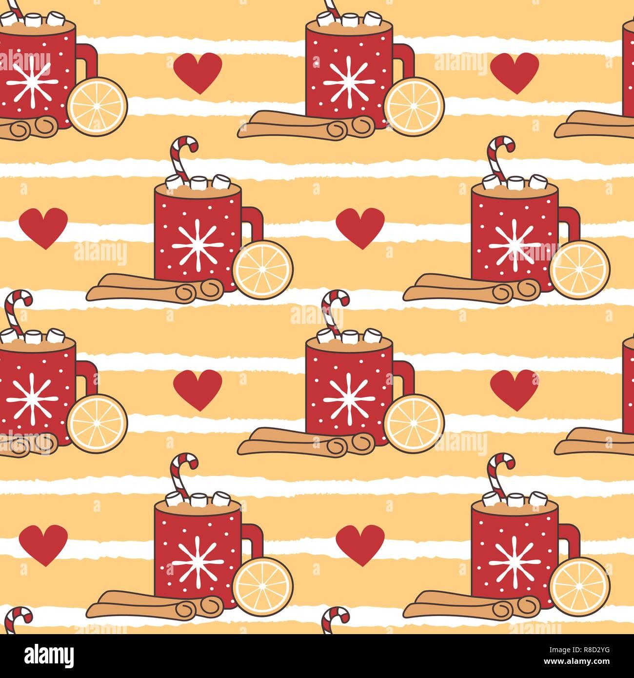 cute cartoon christmas hot cocoa mug vector illustration