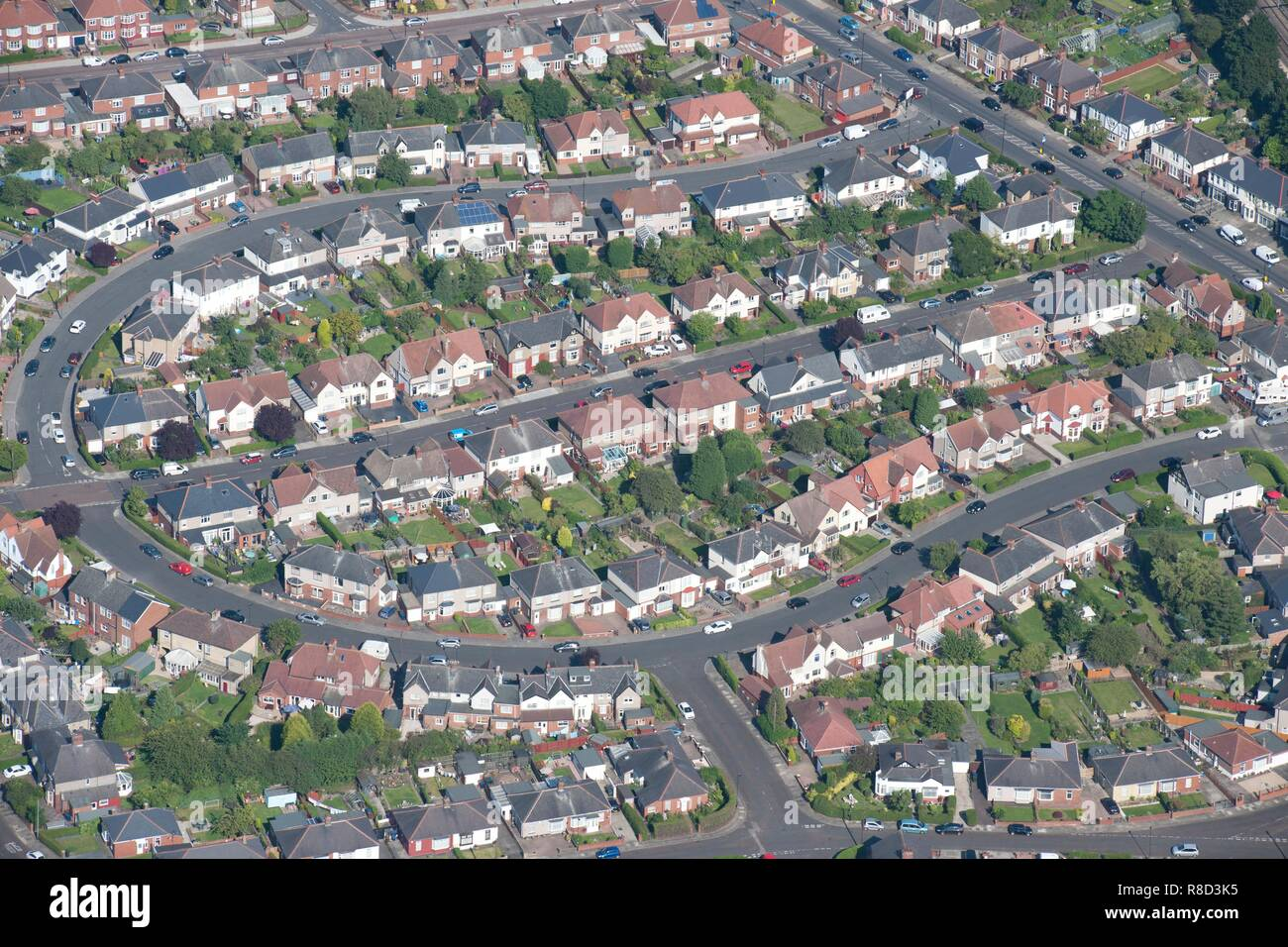 Semi-detached housing, Walkerville, Newcastle upon Tyne, 2014. - Stock Image