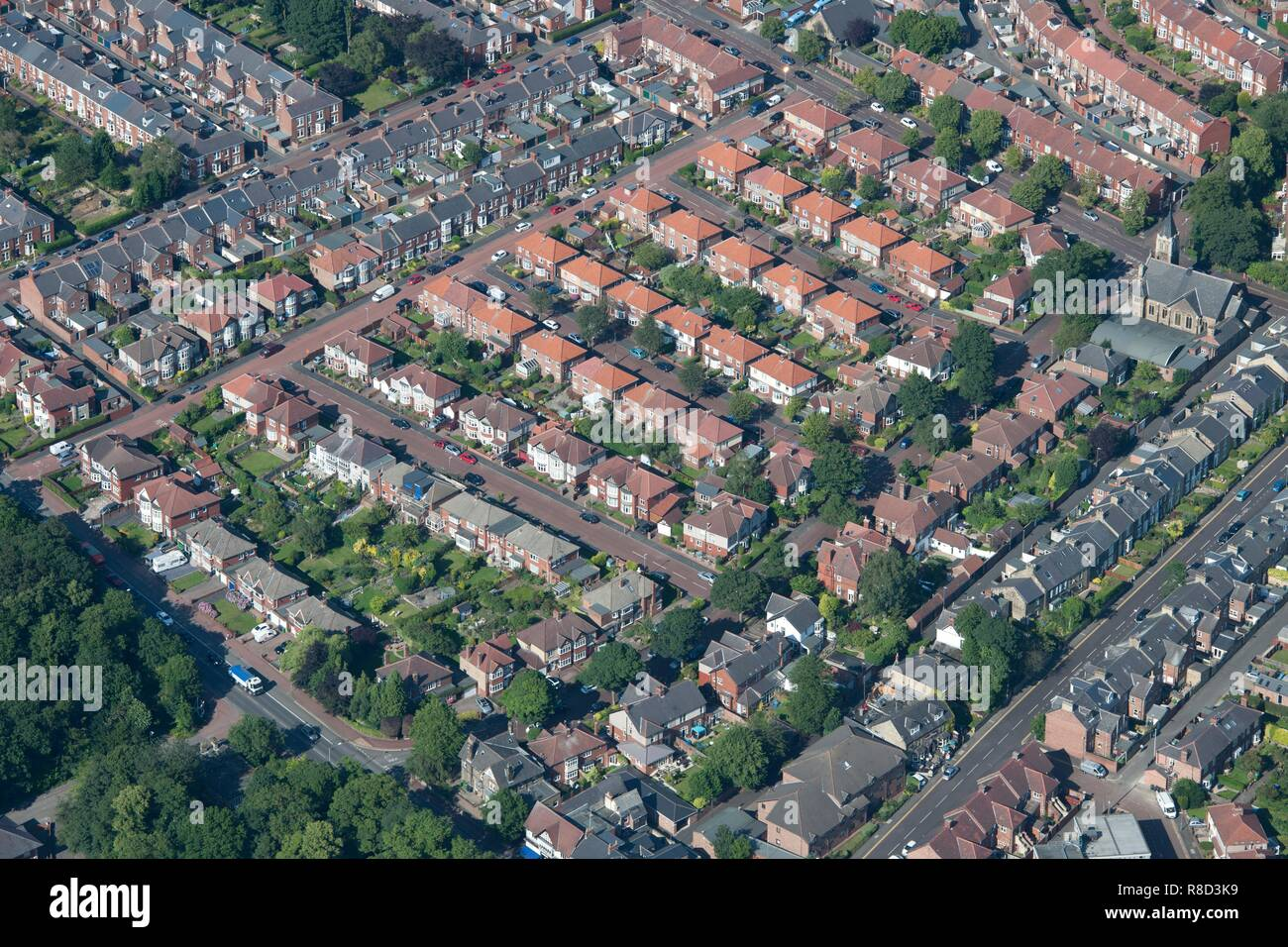 Rows of semi-detached houses, Gateshead, Tyne and Wear, 2015. - Stock Image