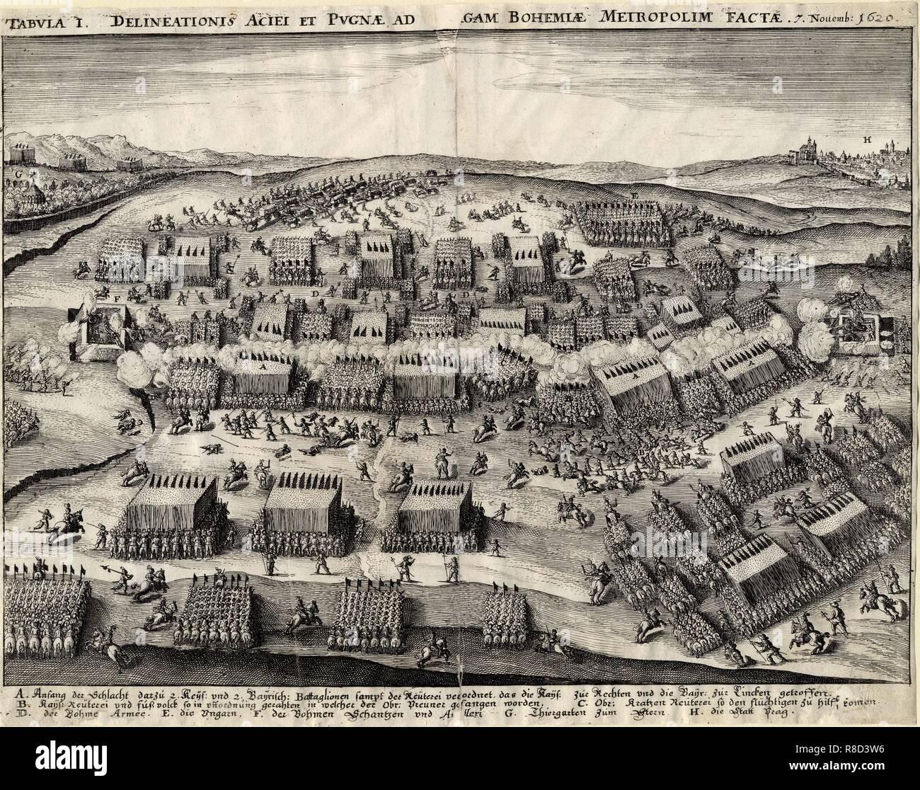 The Battle of White Mountain on 8 November 1620, 1620-1635 . Stock Photo