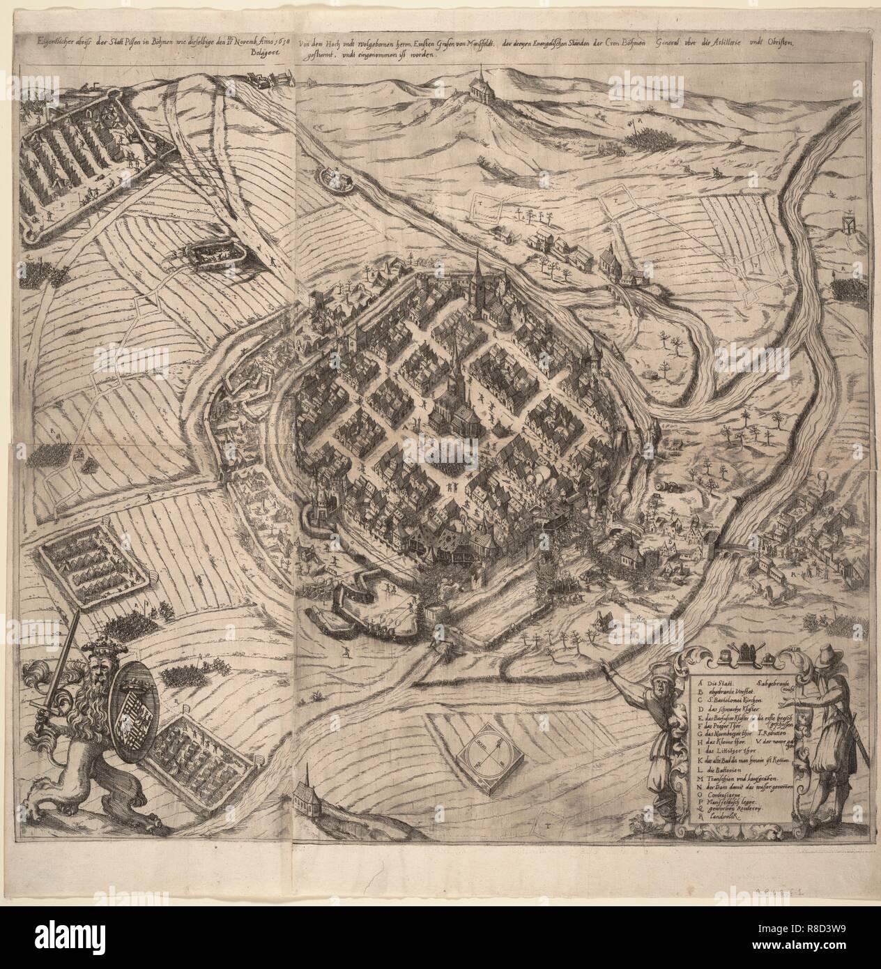 The Siege of Pilsen by Ernst von Mansfeld on 21 November 1618, c1620. Stock Photo