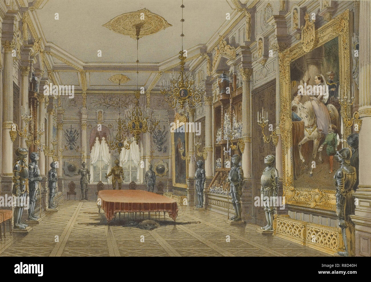 Verkiai Palace. Interior of dining room, 1847-1852. Private Collection. - Stock Image