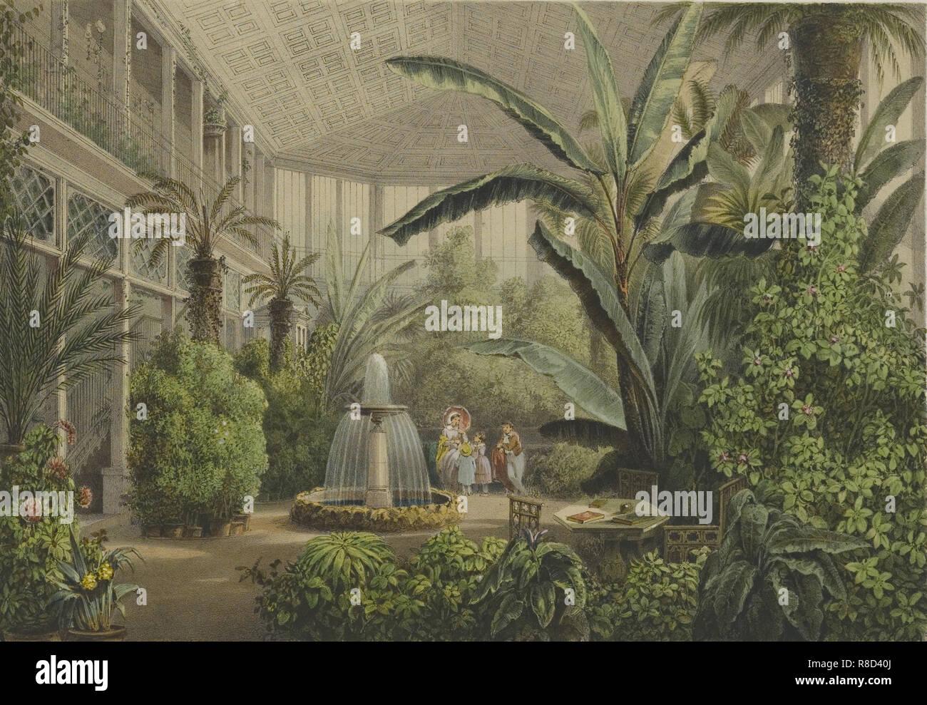 Verkiai Palace. Interior of conservatory, 1847-1852. Stock Photo