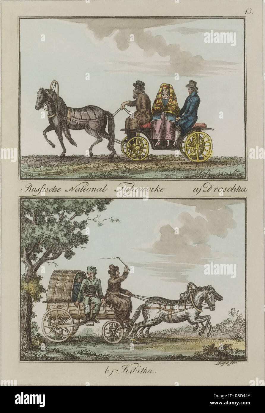 Russian Carriages: Droshky and Kibitka, Between 1792 and 1820. Stock Photo