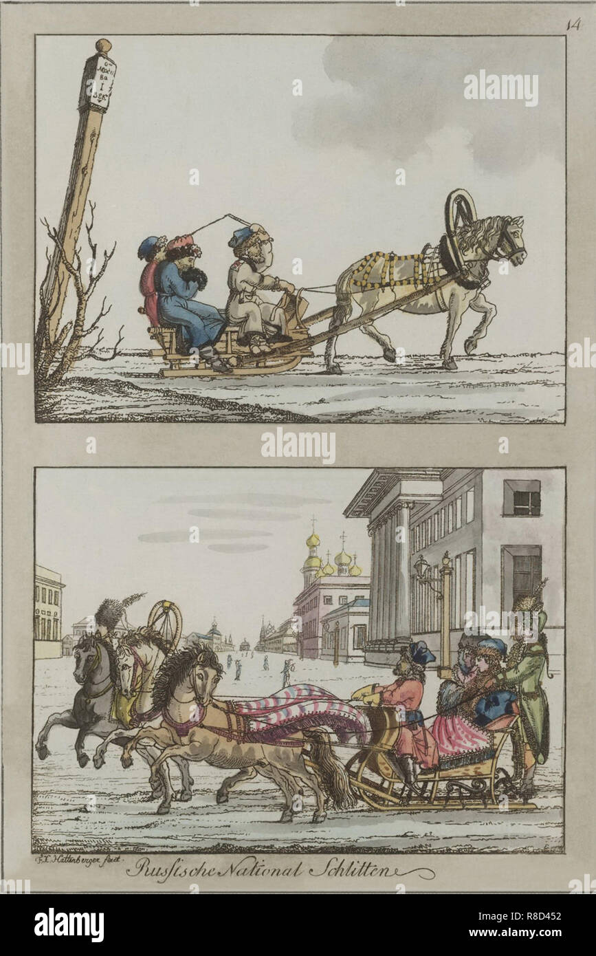 Russian sledges, Between 1792 and 1820. Stock Photo