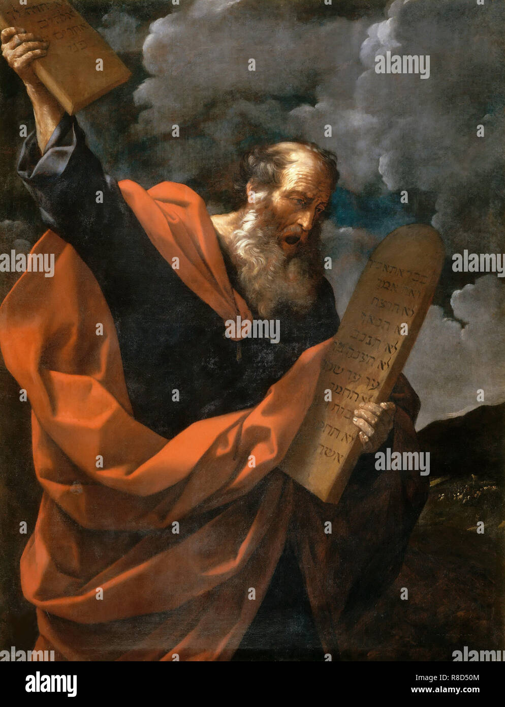 Moses Breaking the Tablets of the Law, ca 1624-1625. Stock Photo