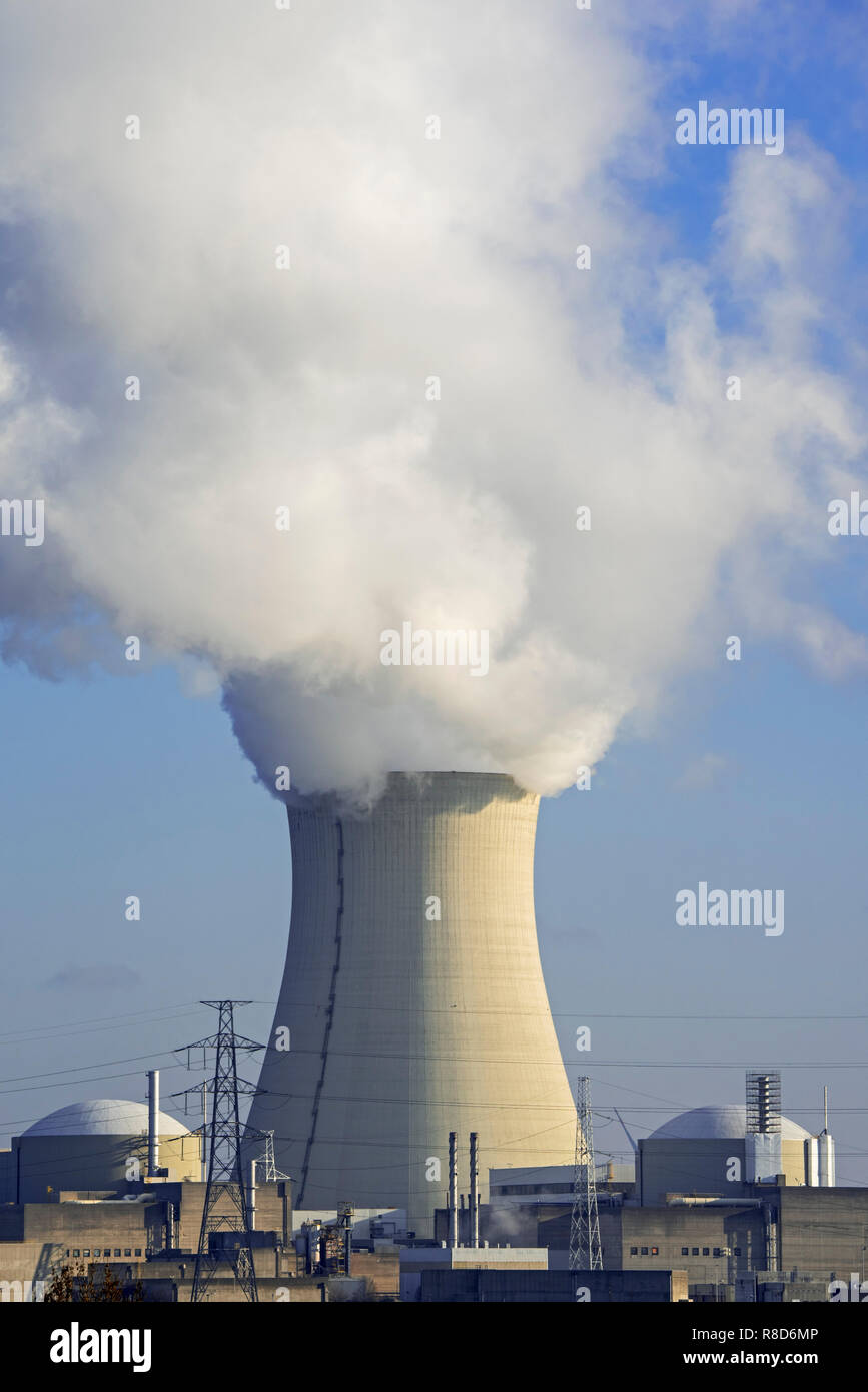 Cooling tower of the Doel Nuclear Power Station / nuclear power plant in the Antwerp harbour, Flanders, Belgium - Stock Image