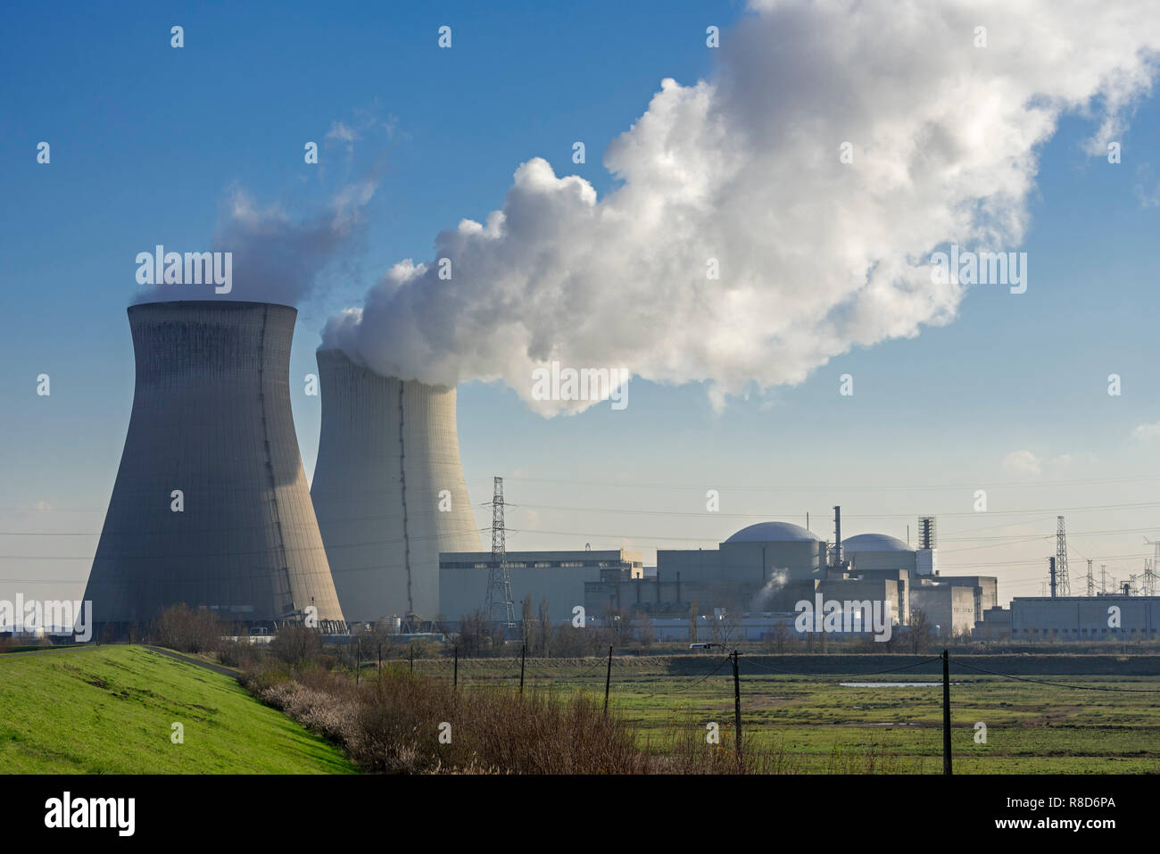 Cooling towers of the Doel Nuclear Power Station / nuclear power plant in the Antwerp harbour, Flanders, Belgium - Stock Image