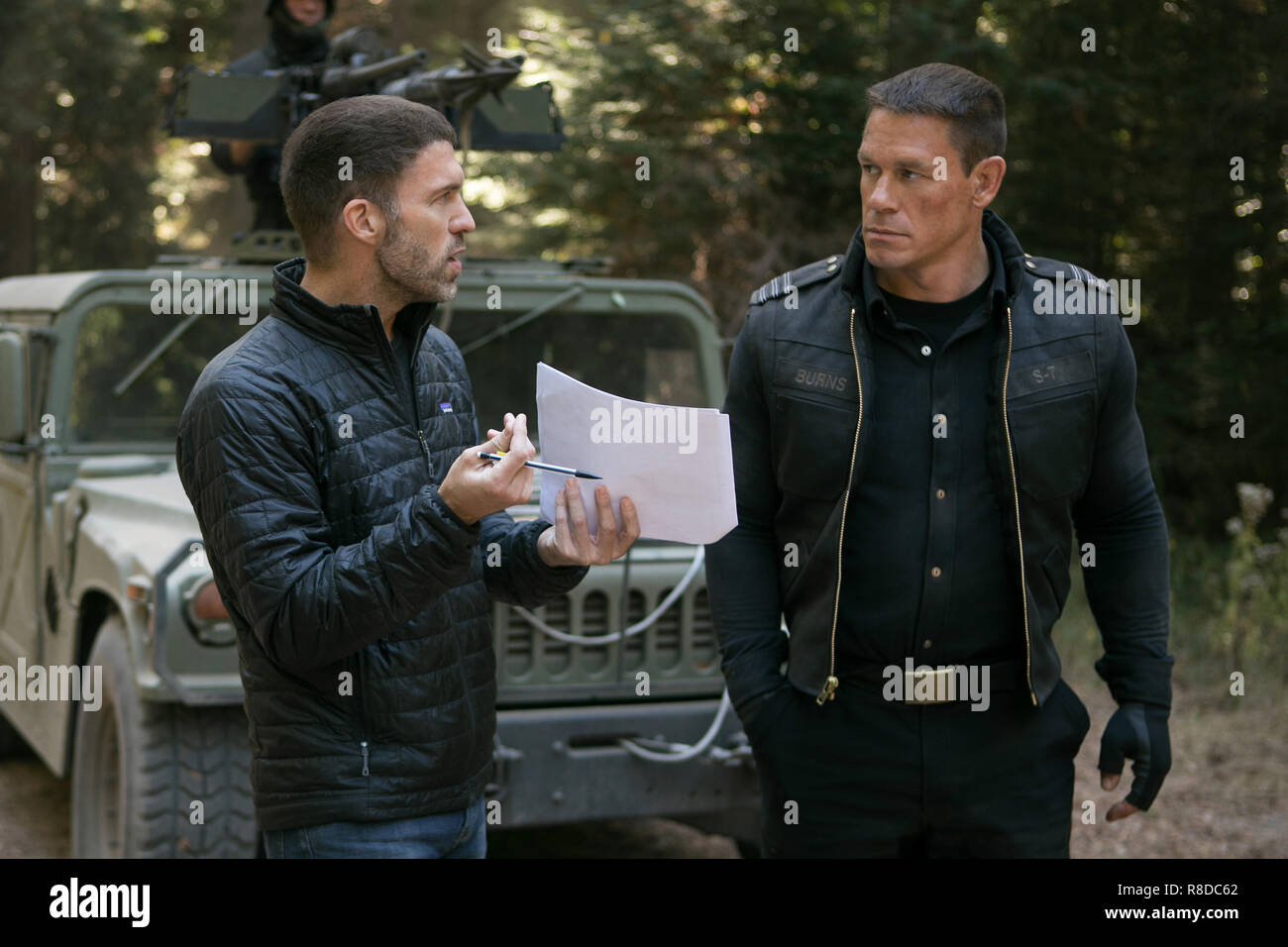 Left to right: Director Travis Knight and John Cena on the behind the scenes on the set of BUMBLEBEE, from Paramount Pictures.  Photo Credit: Paramount Pictures / The Hollywood Archive - Stock Image