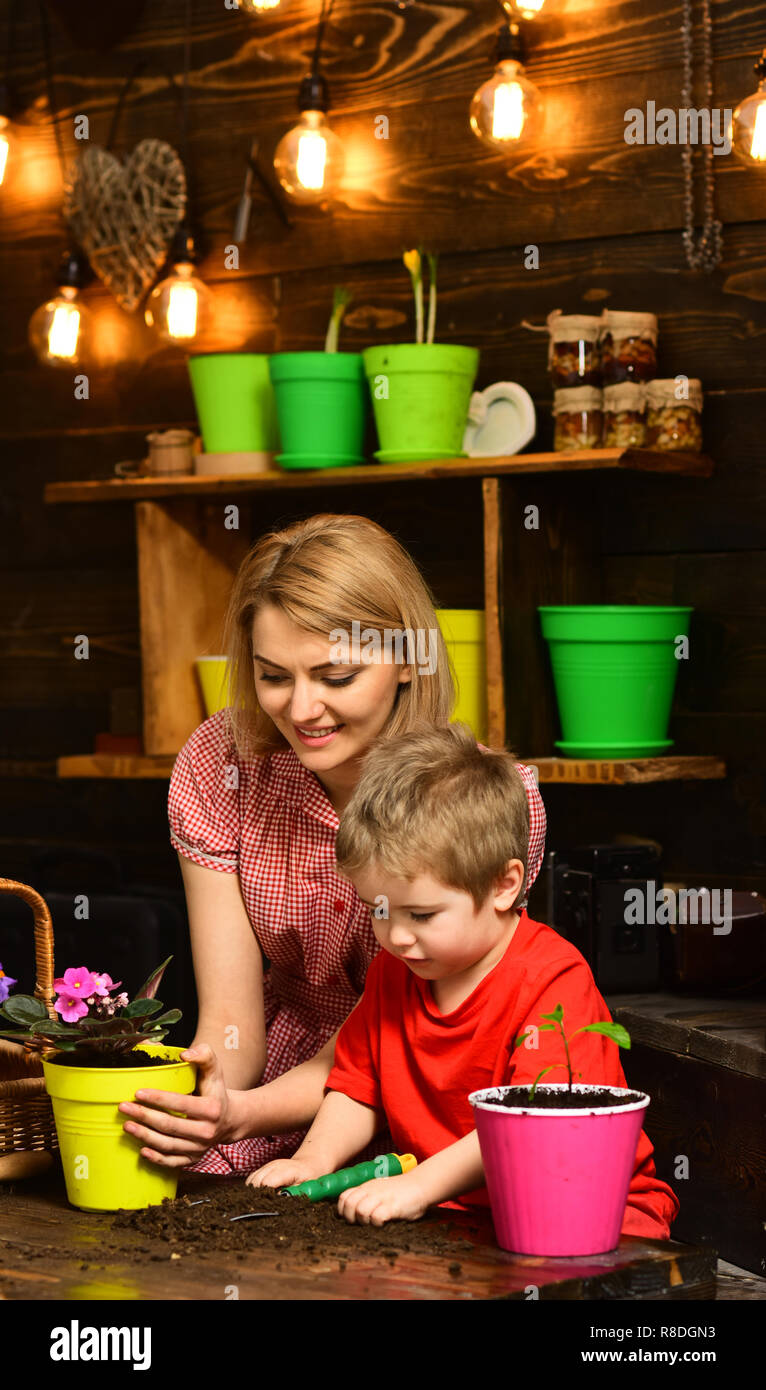 Natural concept. Mother and son replanting natural flower in new pot. Mother and child replanting natural houseplant in black soil or dirt. Natural ecosystem and resources - Stock Image