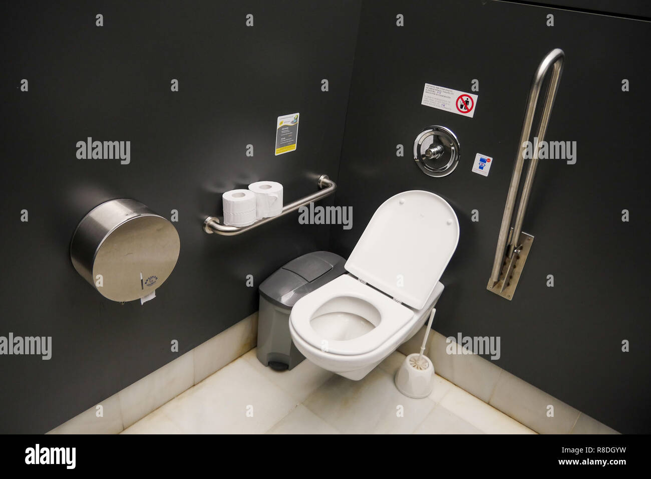 Toilets for disabled persons at Queen Sofia Museum - Museo Nacional Centro de Arte Reina Sofía, Madrid, Spain Stock Photo