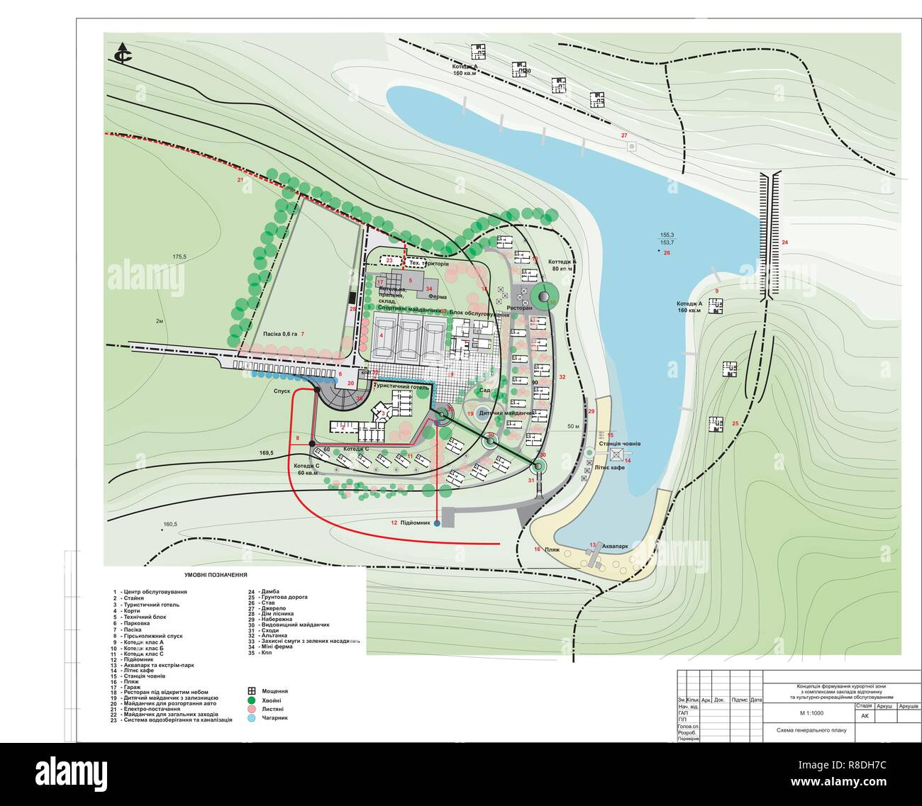 Draft master plan for the residence of the recreation complex - Stock Vector