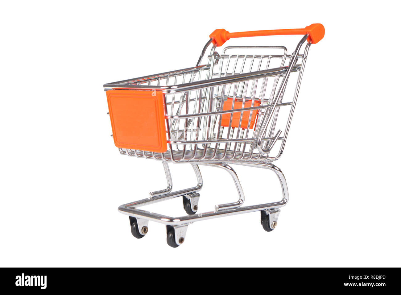 Photo image of a shopping trolley isolated on white Stock Photo