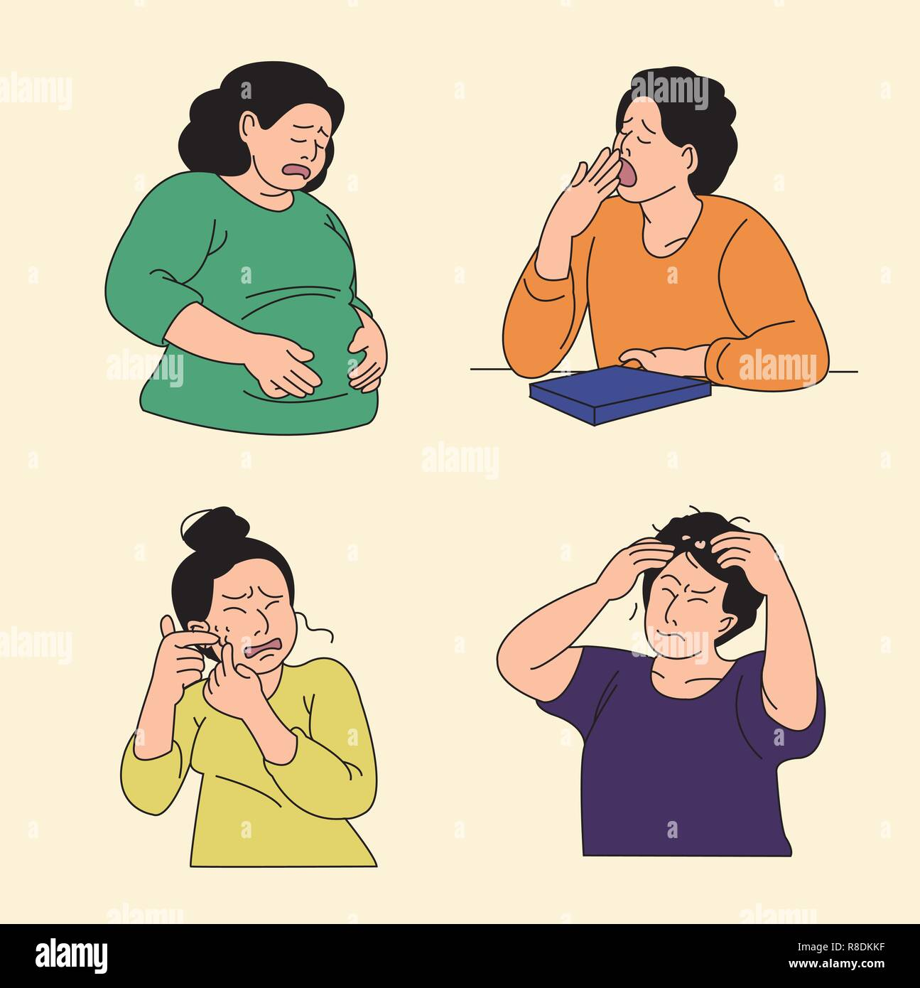 Set of various emotions suffer or stressful isolated vector illustration. 003 - Stock Image