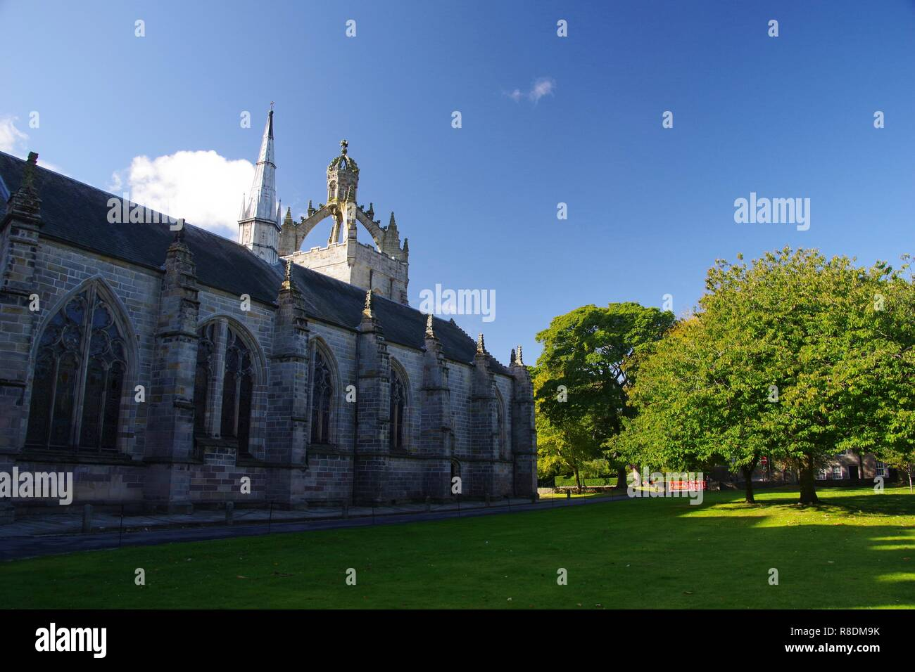 Imperial Crown Tower of Kings College Chapel at the University of Aberdeen on a Sunny Autumn Day. Scotland, UK. - Stock Image