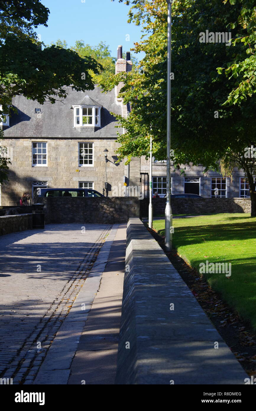 Granite Houses along the High Street, Old Aberdeen, Scotland, UK, on a Sunny Autumn Day. - Stock Image
