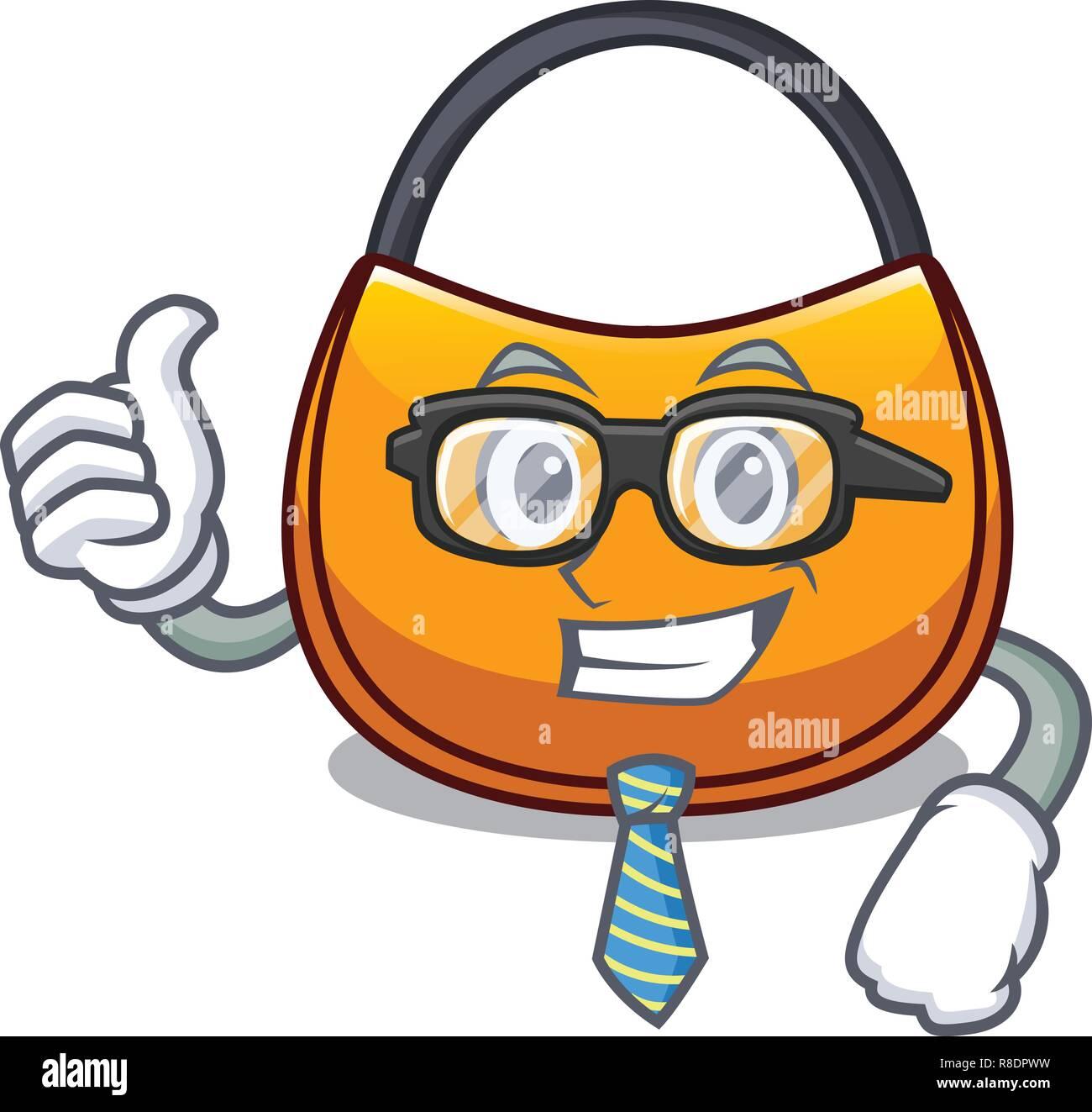 Businessman beautifully hobo bag on character funny - Stock Image