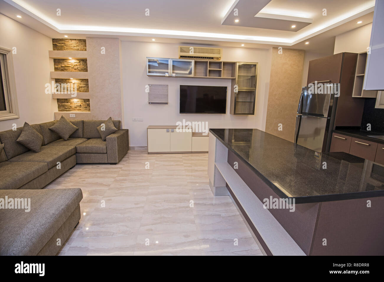 Living Room Lounge In Luxury Apartment Show Home Showing Open Plan