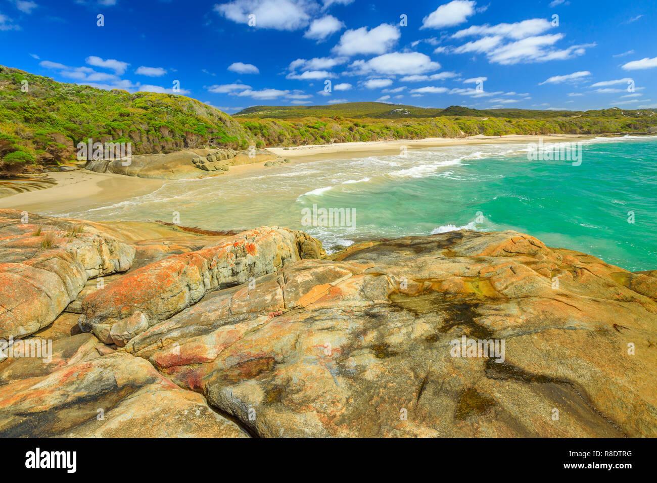 Australian travel summer destination. Waterfall Beach in Denmark region, Western Australia. Great Southern Ocean coastline in William Bay National Park. Sunny day, blue sky. Stock Photo
