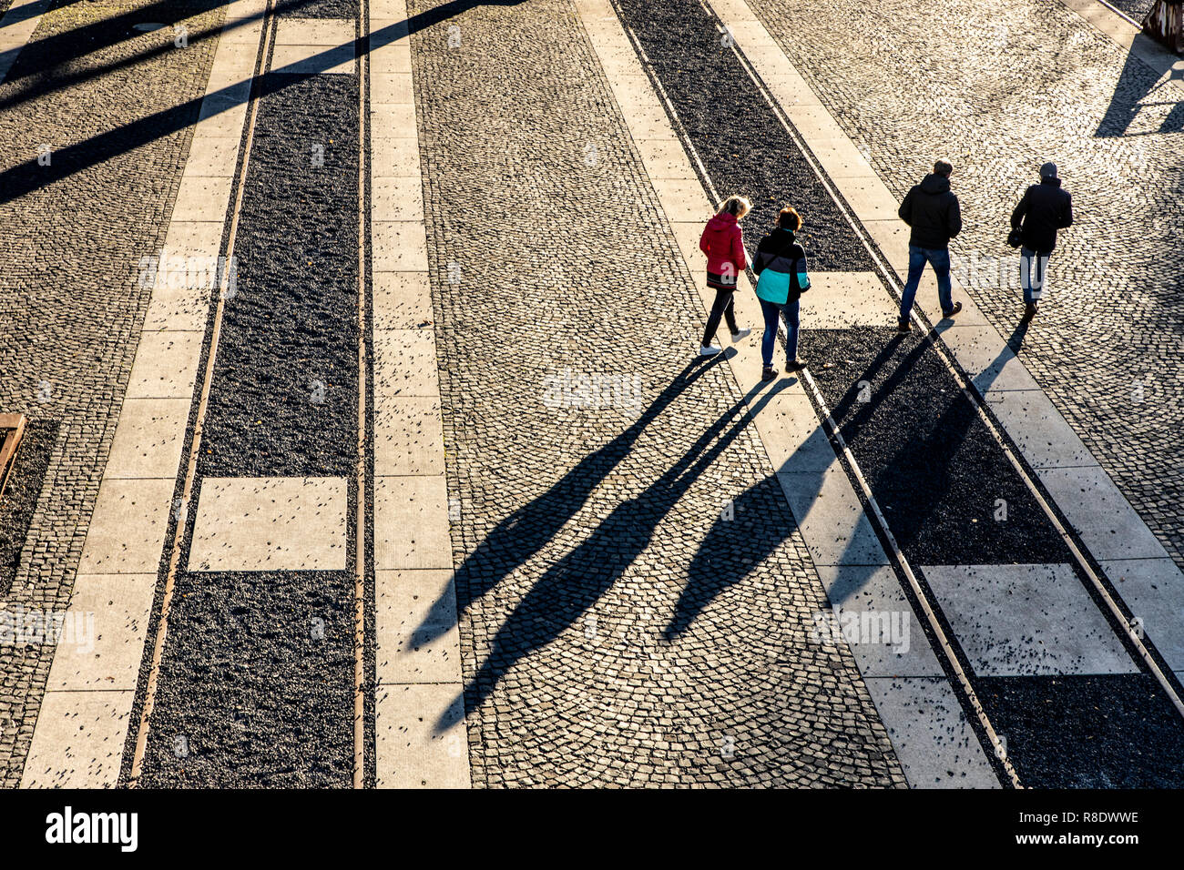 The new track boulevard, former track systems, at the Zeche Zollverein in Essen, Germany - Stock Image