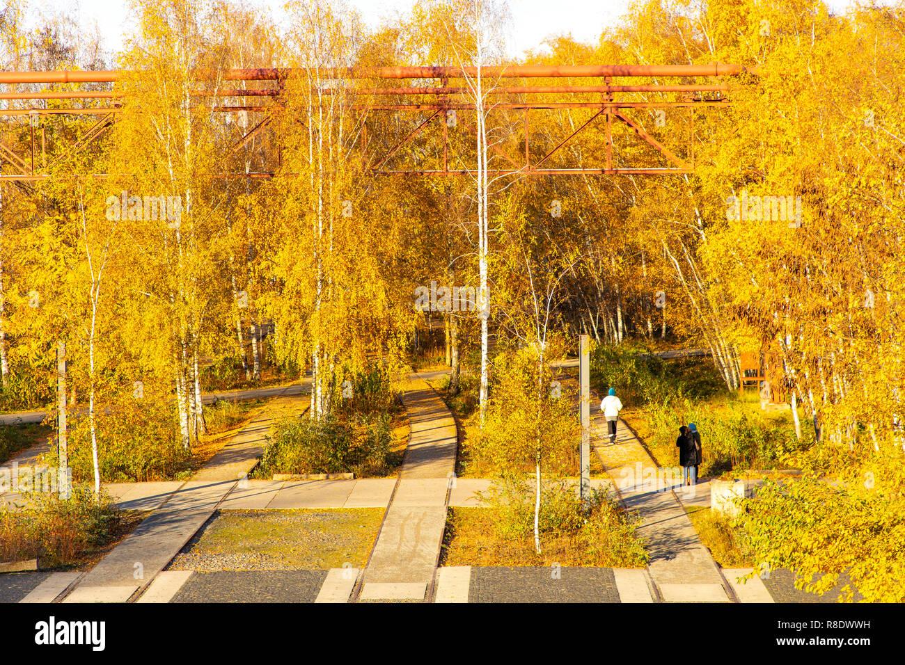 The Zollverein Park, former track systems, at the Zeche Zollverein in Essen, - Stock Image