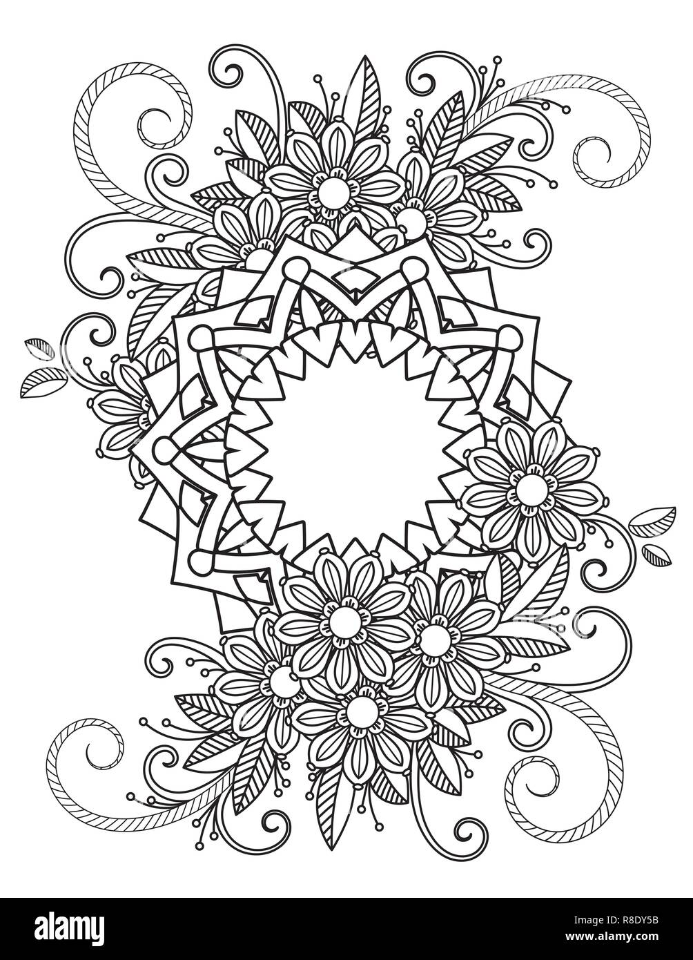 floral mandala pattern in black and white adult coloring book page with flowers and mandalas oriental pattern vintage decorative elements hand drawn vector illustration R8DY5B
