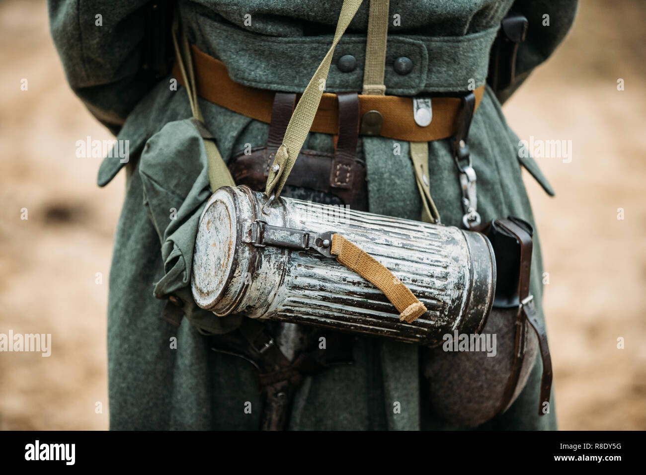 German Wehrmacht Infantry Soldier's Military Equipment Of World War II. Anti-gas Case Or Gas mask Storage On Soldier. - Stock Image
