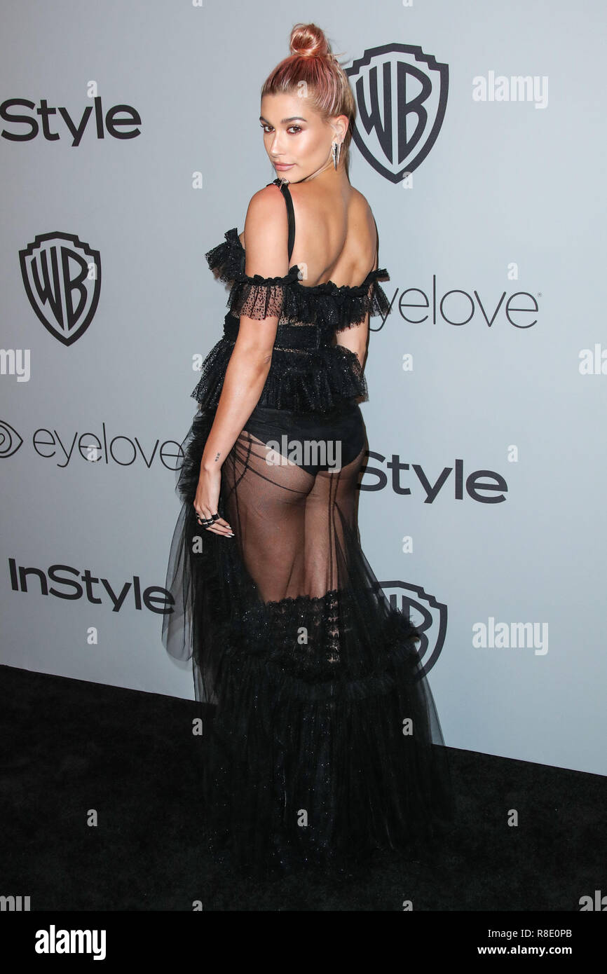 BEVERLY HILLS, LOS ANGELES, CA, USA - JANUARY 07: Hailey Rhode Baldwin at the 2018 InStyle And Warner Bros. Pictures Golden Globe Awards After Party held at The Beverly Hilton Hotel on January 7, 2018 in Beverly Hills, Los Angeles, California, United States. (Photo by Xavier Collin/Image Press Agency) Stock Photo