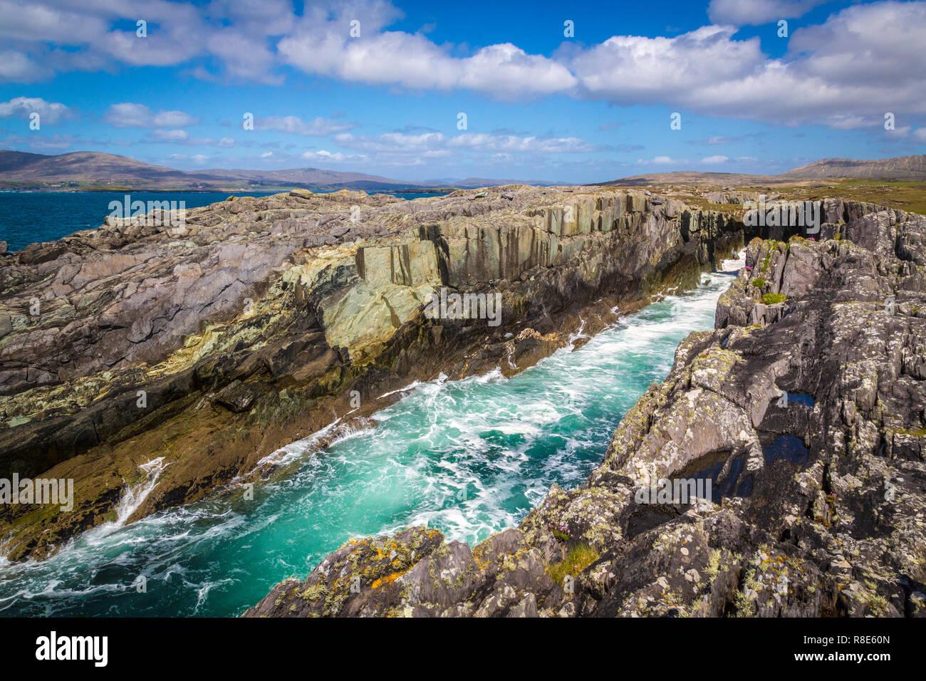 natural stone bridge at Dunmanus Bay, West Cork, Ireland - Stock Image