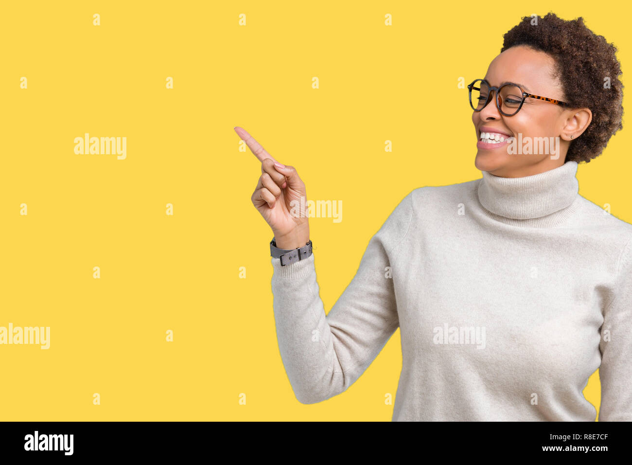 9c38a4d02d34 Young beautiful african american woman wearing glasses over isolated  background with a big smile on face