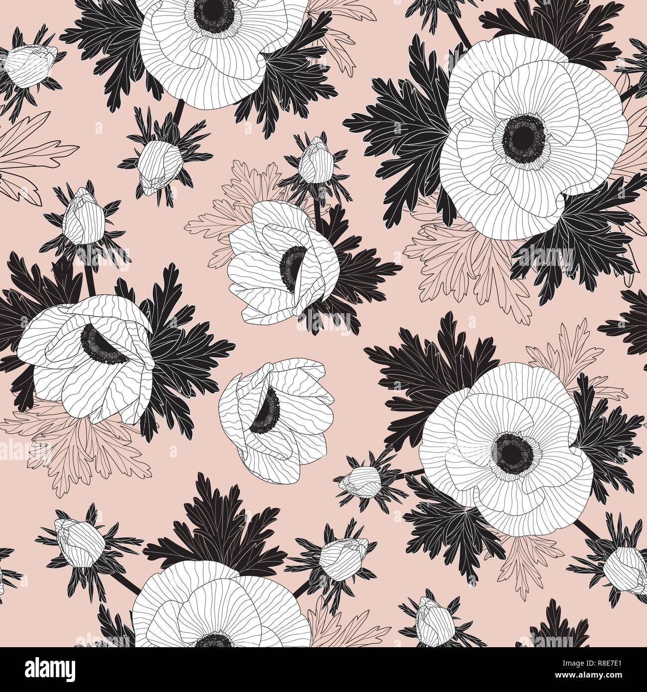 Floral seamless vector pattern with beautiful anemone flowers on pink background. - Stock Vector