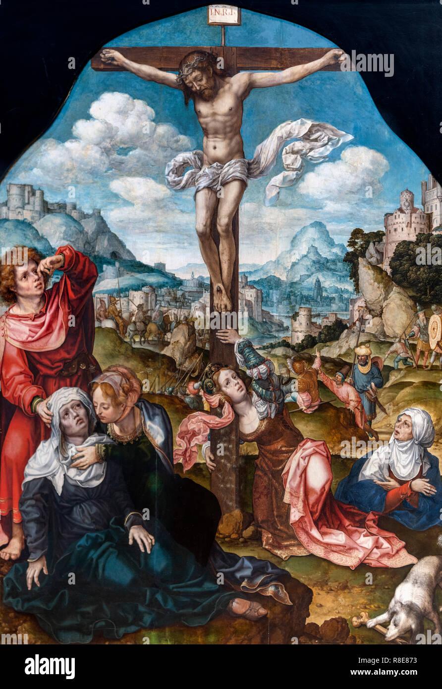 Crucifixion by Jan Gossaert (1478-1532), oil on oak panel - Stock Image